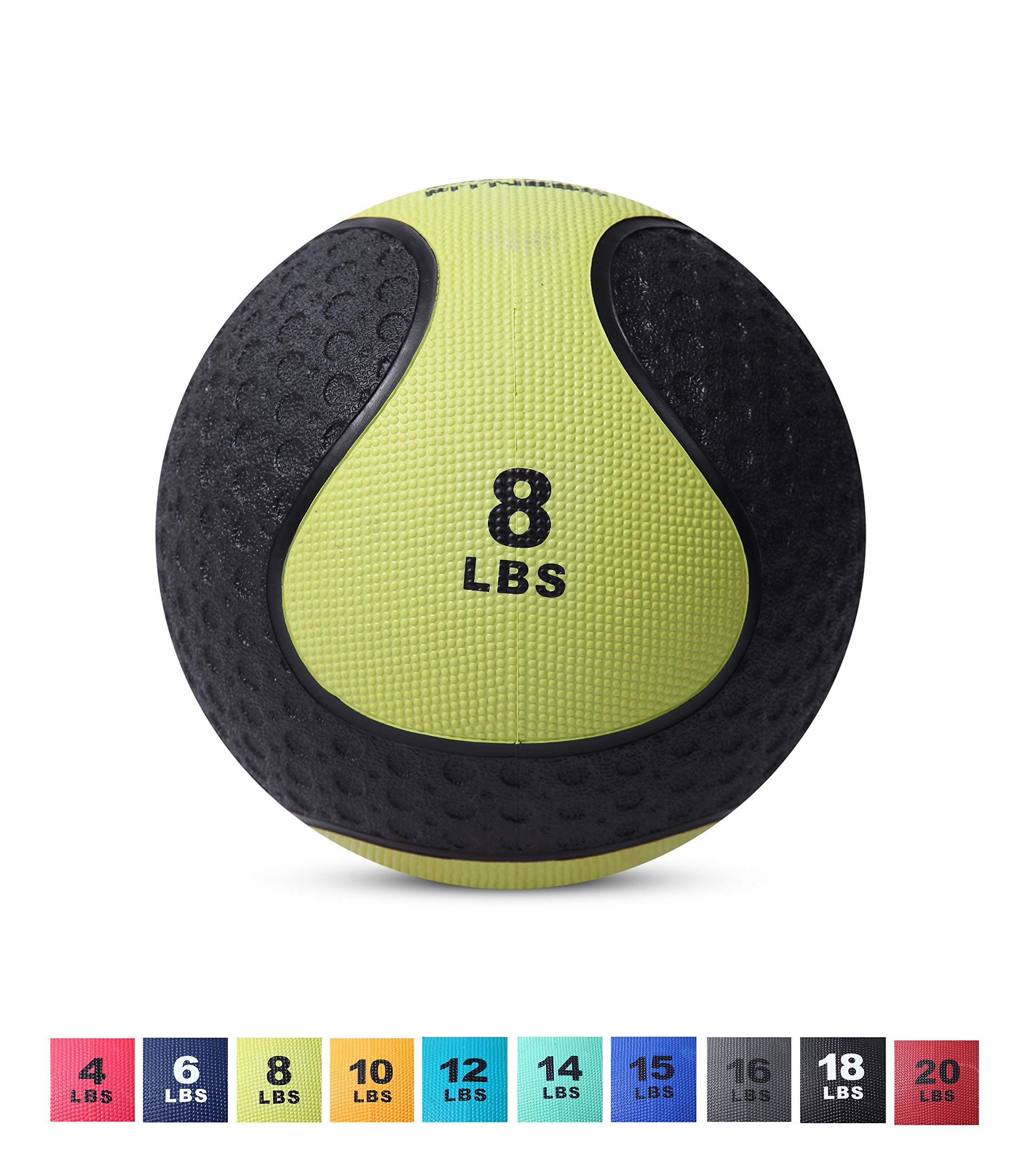 Day 1 Fitness Medicine Exercise Ball with Dual Texture for Superior Grip 8 Pounds - Fitness Balls for Plyometrics, Workouts - Improves Balance, Flexibility, Coordination (Renewed)