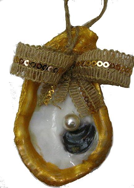 Amazon Oyster Shell Ornament Beach Wedding Favor Gold Edge