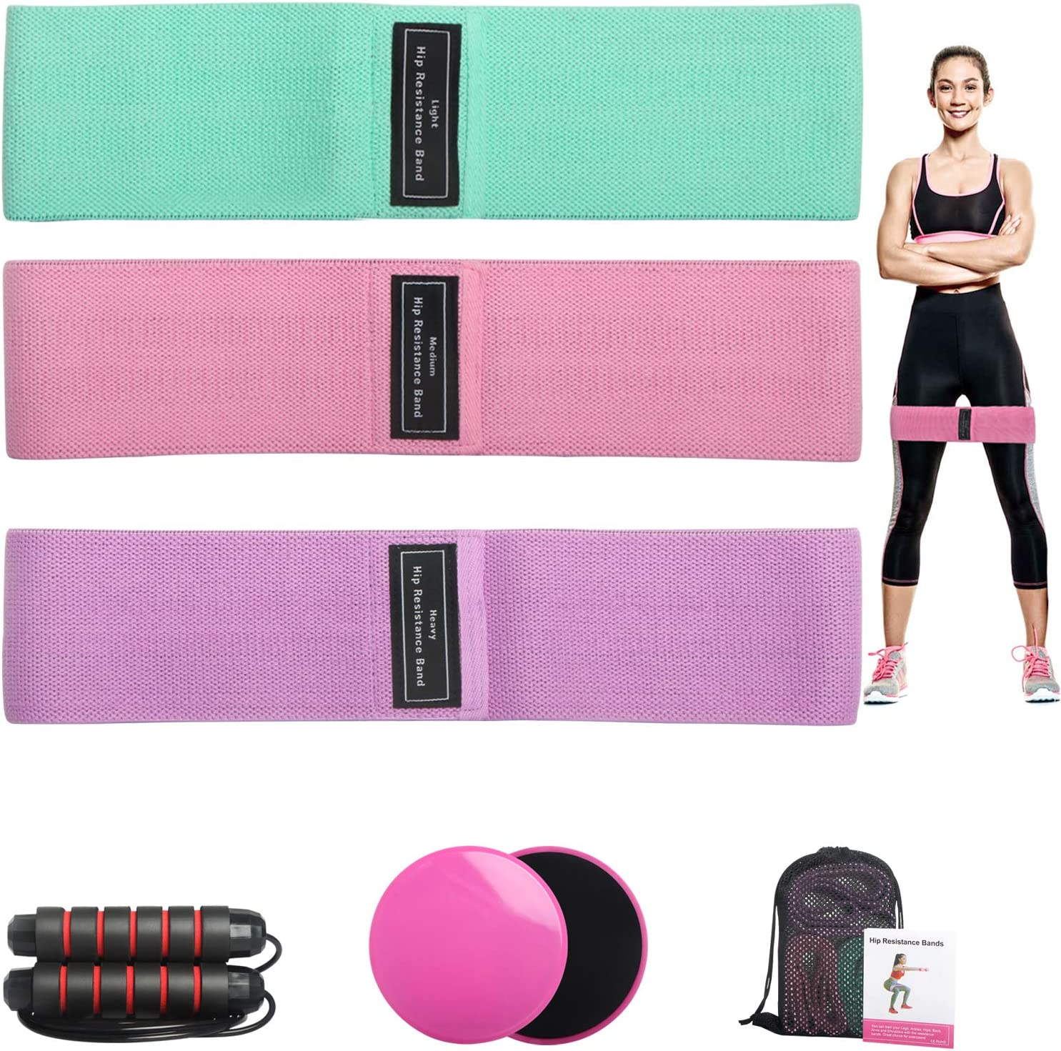 Hip Bands for Women Resistance Fabric Circle Fitness Loop Elastic Legs Exercise