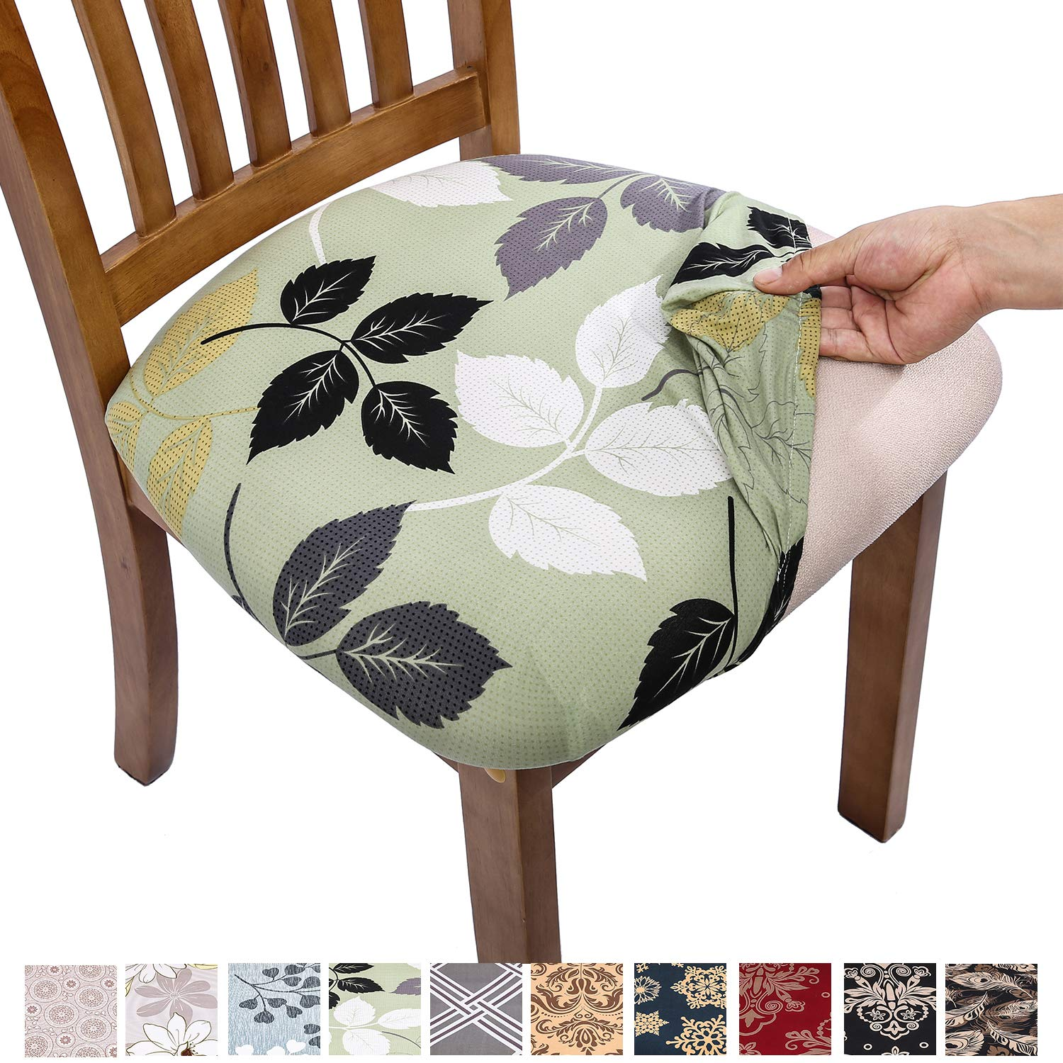 Marvelous Comqualife Stretch Printed Dining Chair Seat Covers Removable Washable Anti Dust Upholstered Chair Seat Cover For Dining Room Kitchen Office Set Alphanode Cool Chair Designs And Ideas Alphanodeonline