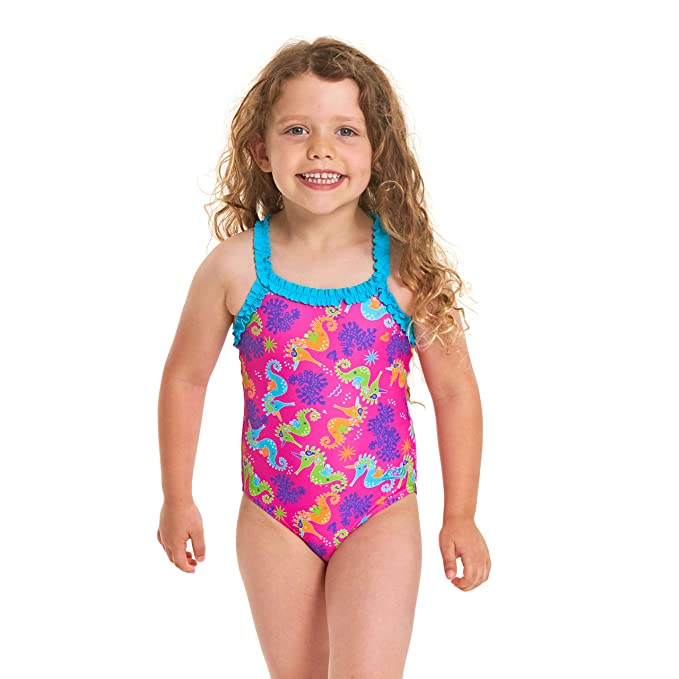 d78702c76fb24 Zoggs Girls' Sea Unicorn Ruffle X Back One Piece Swimsuit: Amazon.co.uk:  Sports & Outdoors
