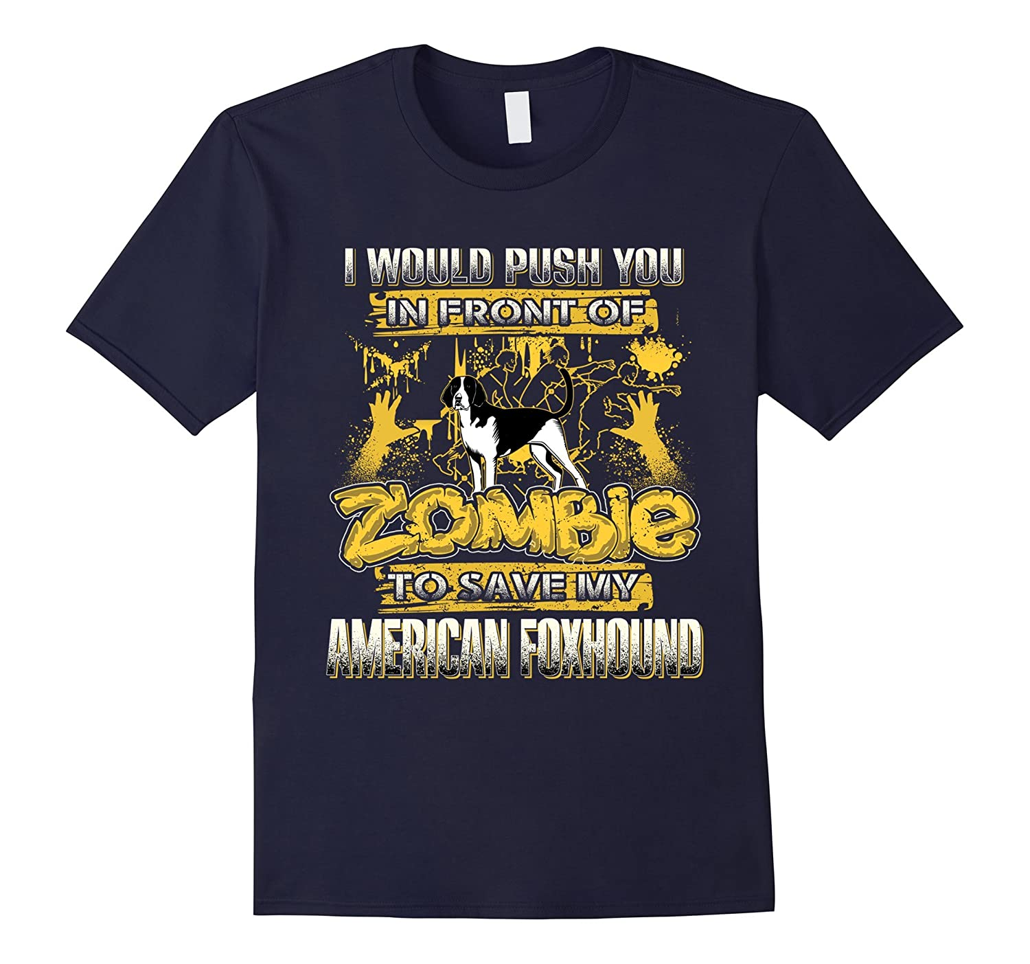 My American Foxhound And Zombie Funny Tshirt-TH