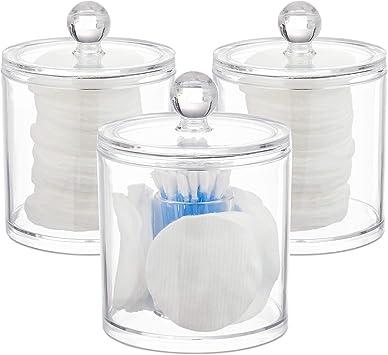 Wattest/äbchen Aufbewahrung pflegeleicht mit Deckel Wattepadhalter Relaxdays transparent Acryl Organizer im 3er Set