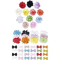 Finrezio 48 PCS Grosgrain Ribbon Flower Baby Hair Bow Clips for Toddler Baby Girls 3 Style Big Alligator Barrettes