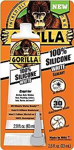 Gorilla 8060810 White Tube Silicone Sealant, 2.8oz