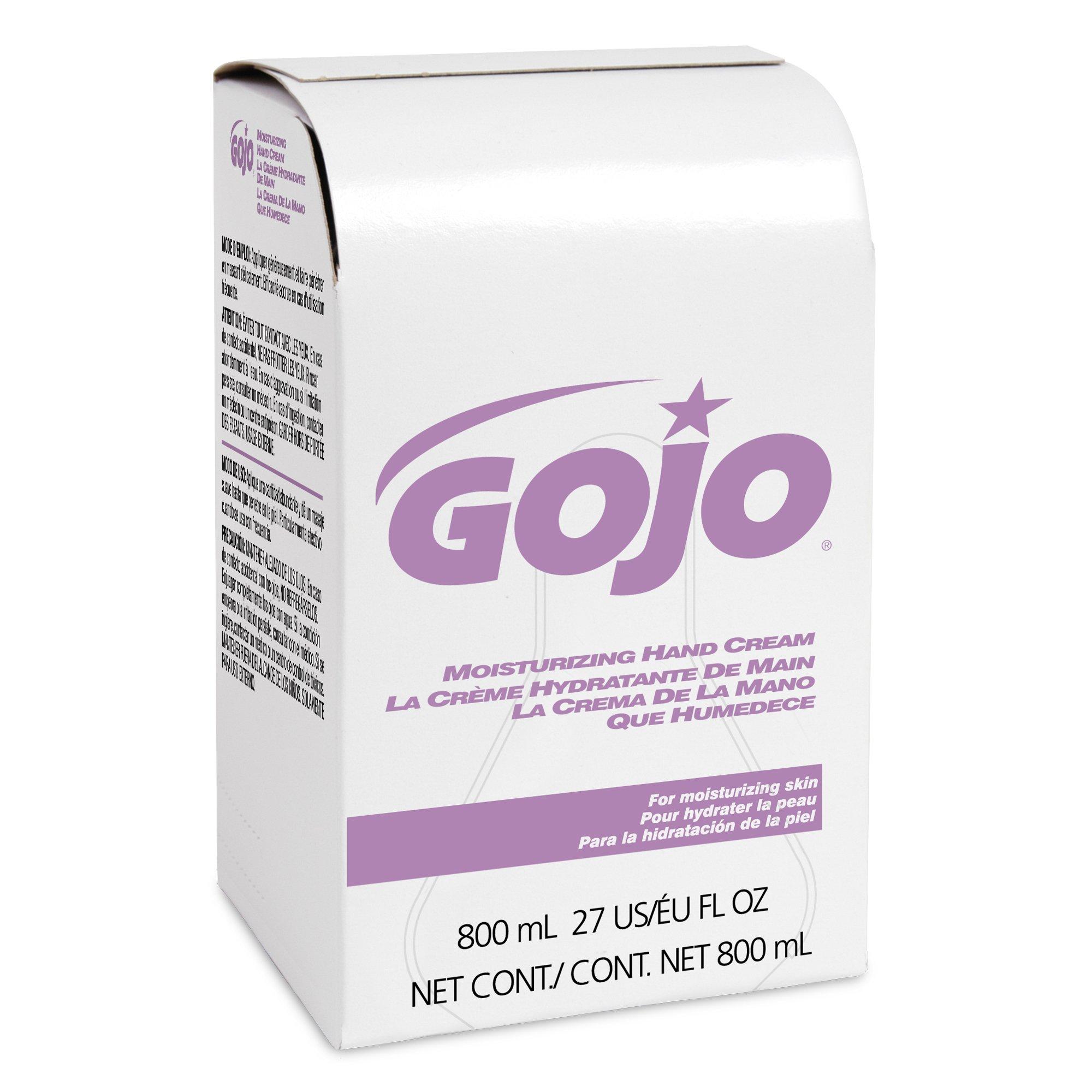 GOJO 9142-12 Moisturizing Hand Cream, 800 mL Refill (Pack of 12)