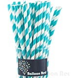 Biodegradable Paper Drinking Straws (Premium Quality), Pack of 50, Striped - Red