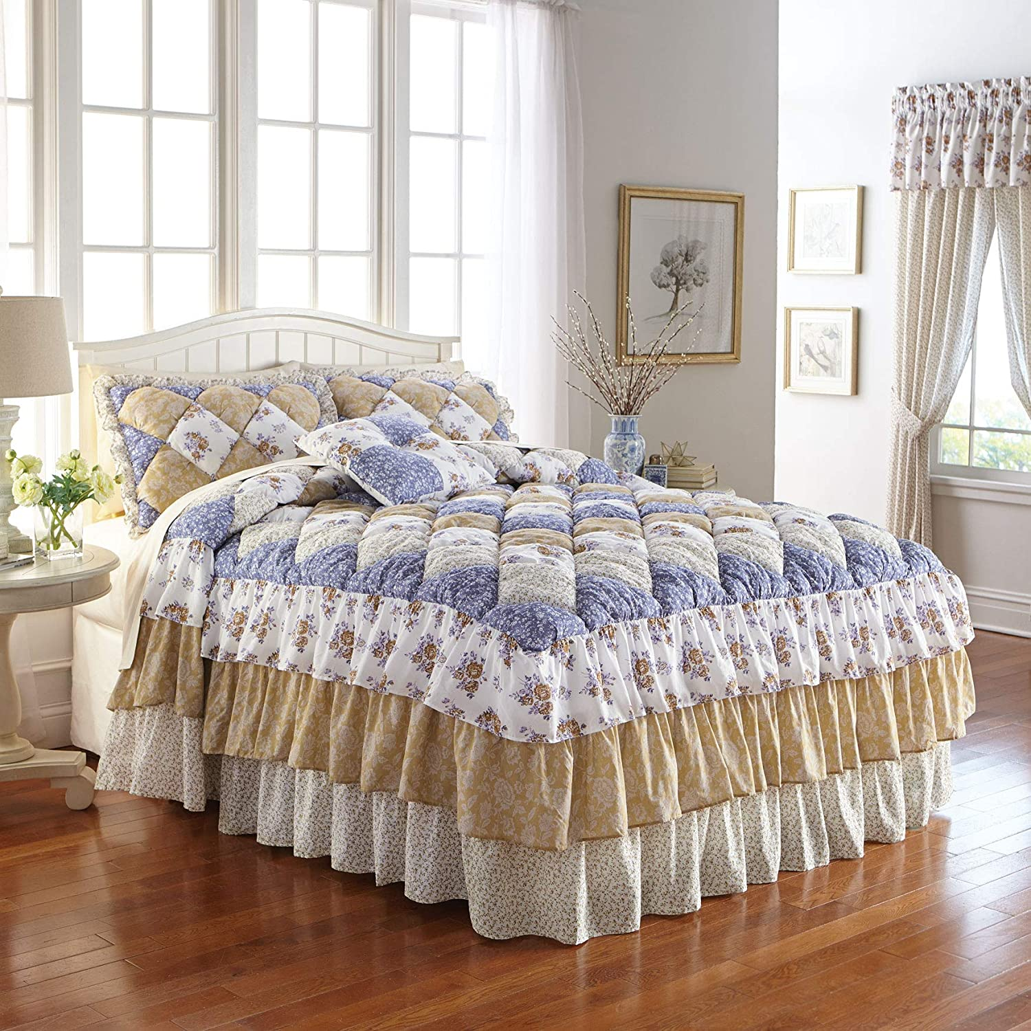 BrylaneHome Alexis Bedspread - Full, Gold Blue