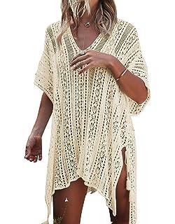 a7fc340cf7f JOSIFER Women s Summer Beach Coverups Bikini Swimsuit Crochet Cover ups Net