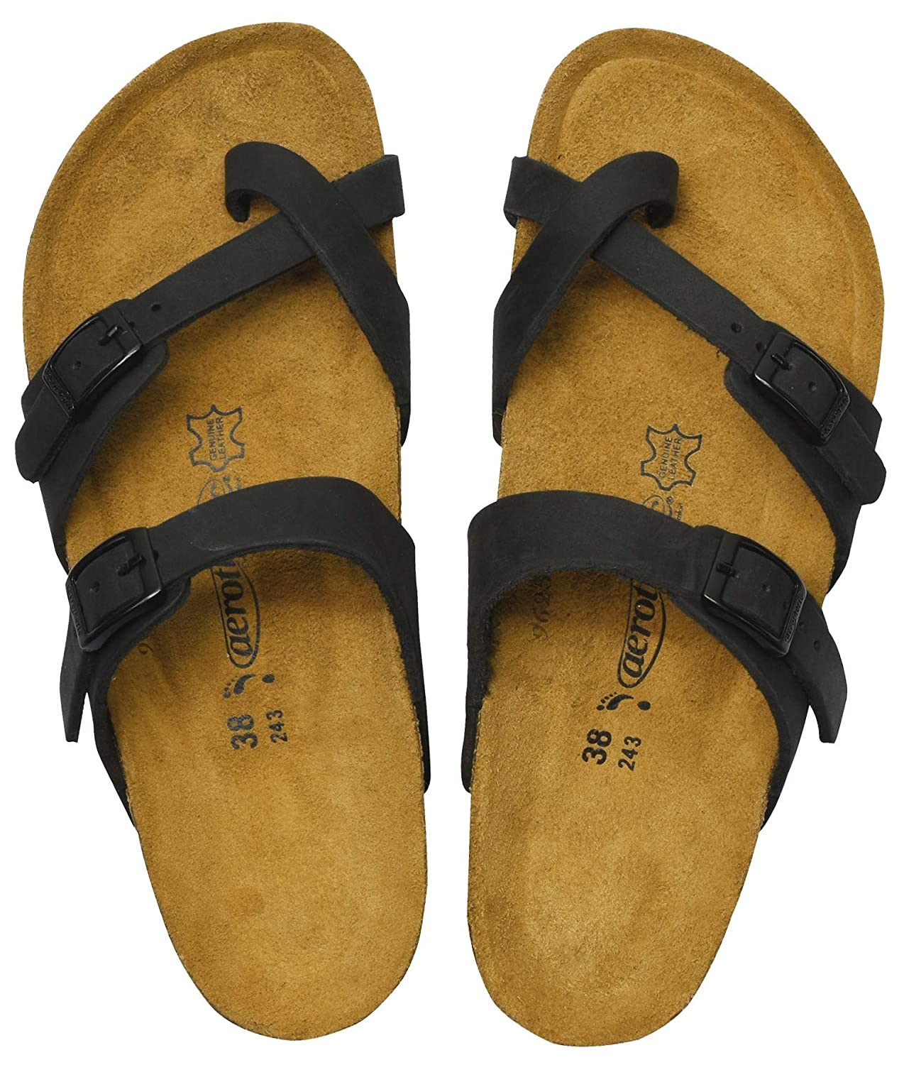 Women's Comfortable Arch Support Minerva Black Leather Sandals - DeluxeAdultCostumes.com