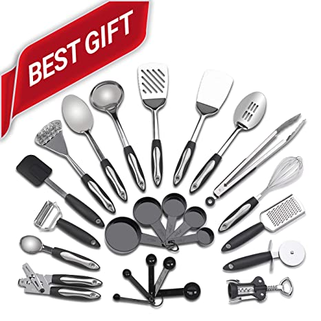 784bb3b4b 1790 Stainless Steel Kitchen Utensil Set - 25 Cooking Utensils - Nonstick Utensils  Cookware Set with