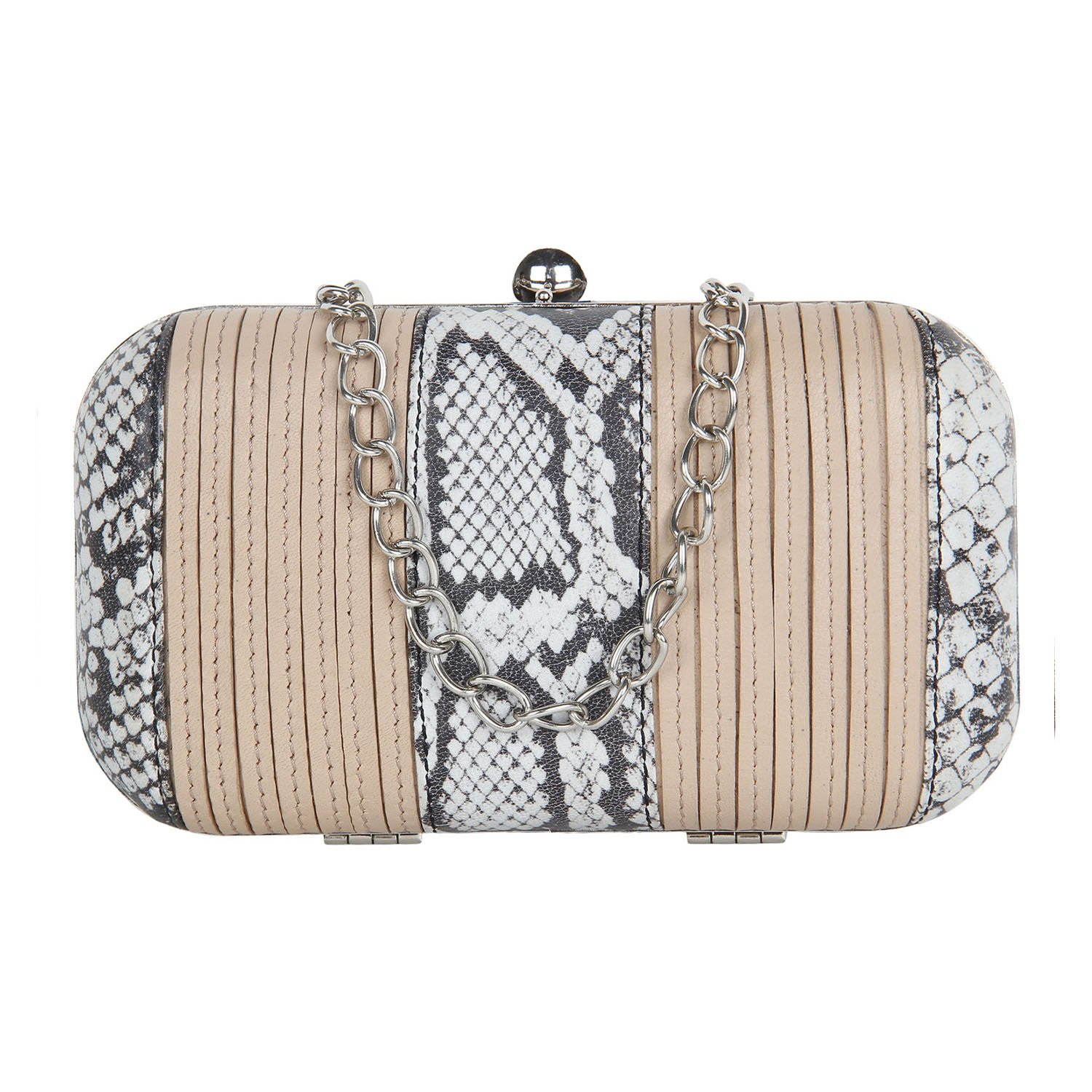 Paint Python Clutch with stitched Nude coloured stripes PT2152CL097