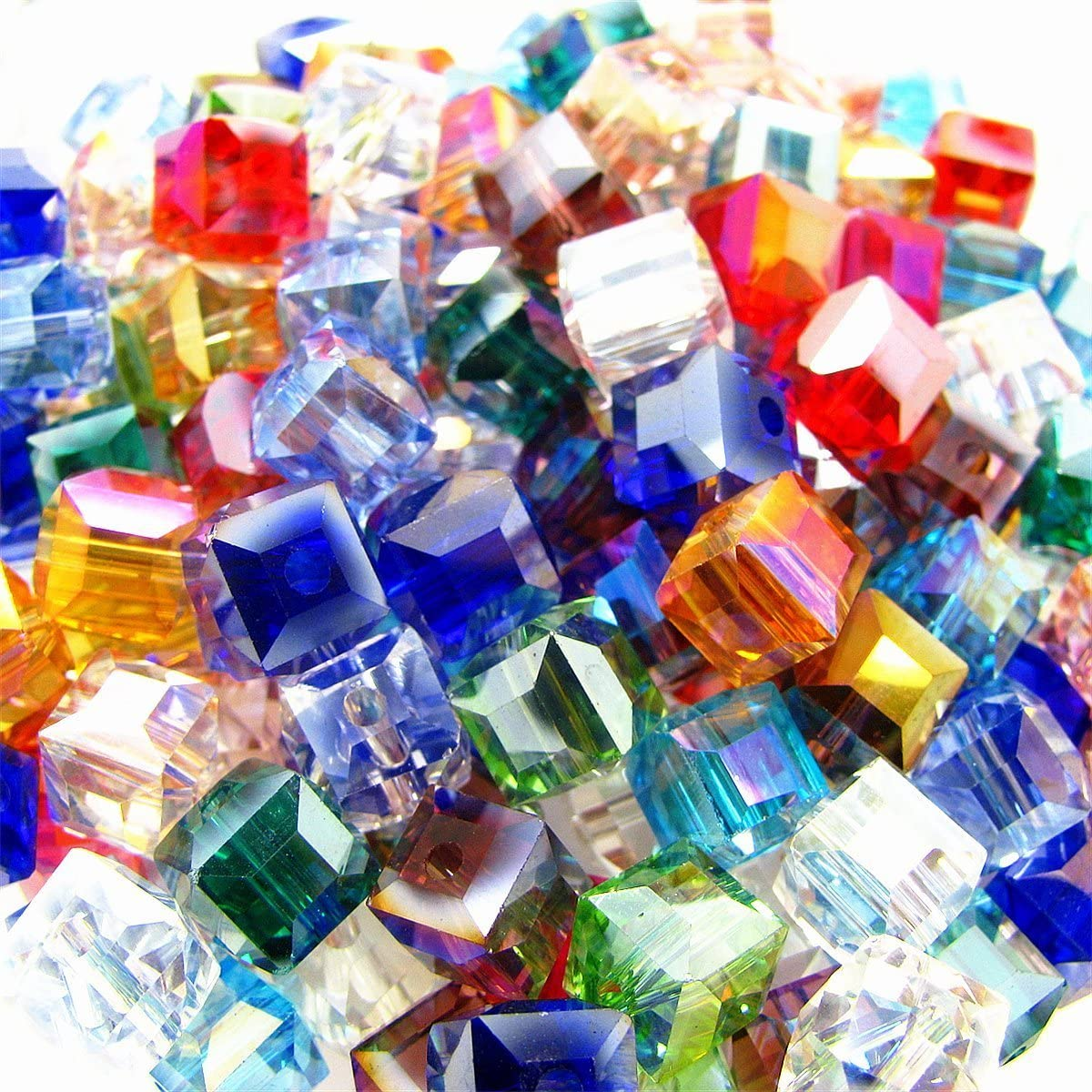 Multicolor Crystal Beads Square Glaze Glass Bead Quartz Loose Beads for Jewelry Making Accessory (6mm-200pcs)