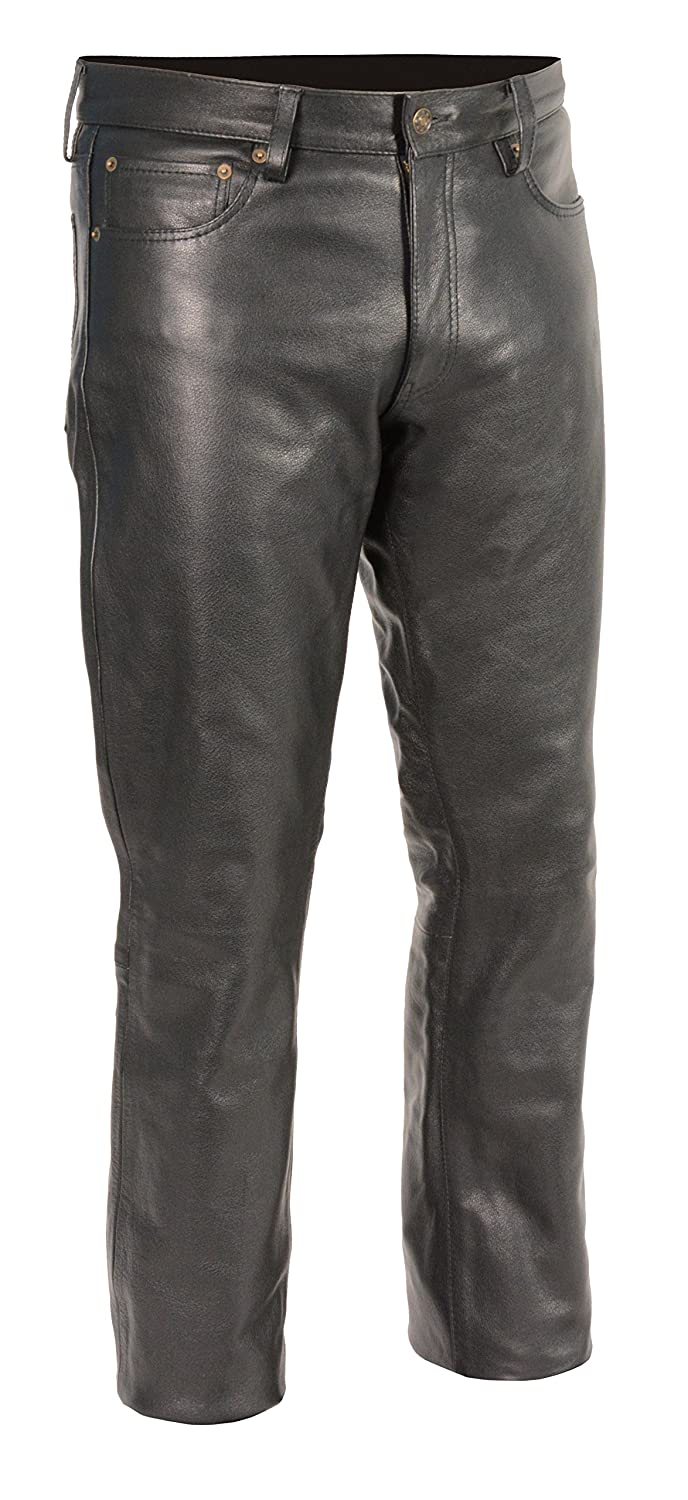 M-BOSS Motorcycle Apparel-BOS15500-BLACK-38-Men's Classic 5 Pocket Leather Pants-BLACK-38