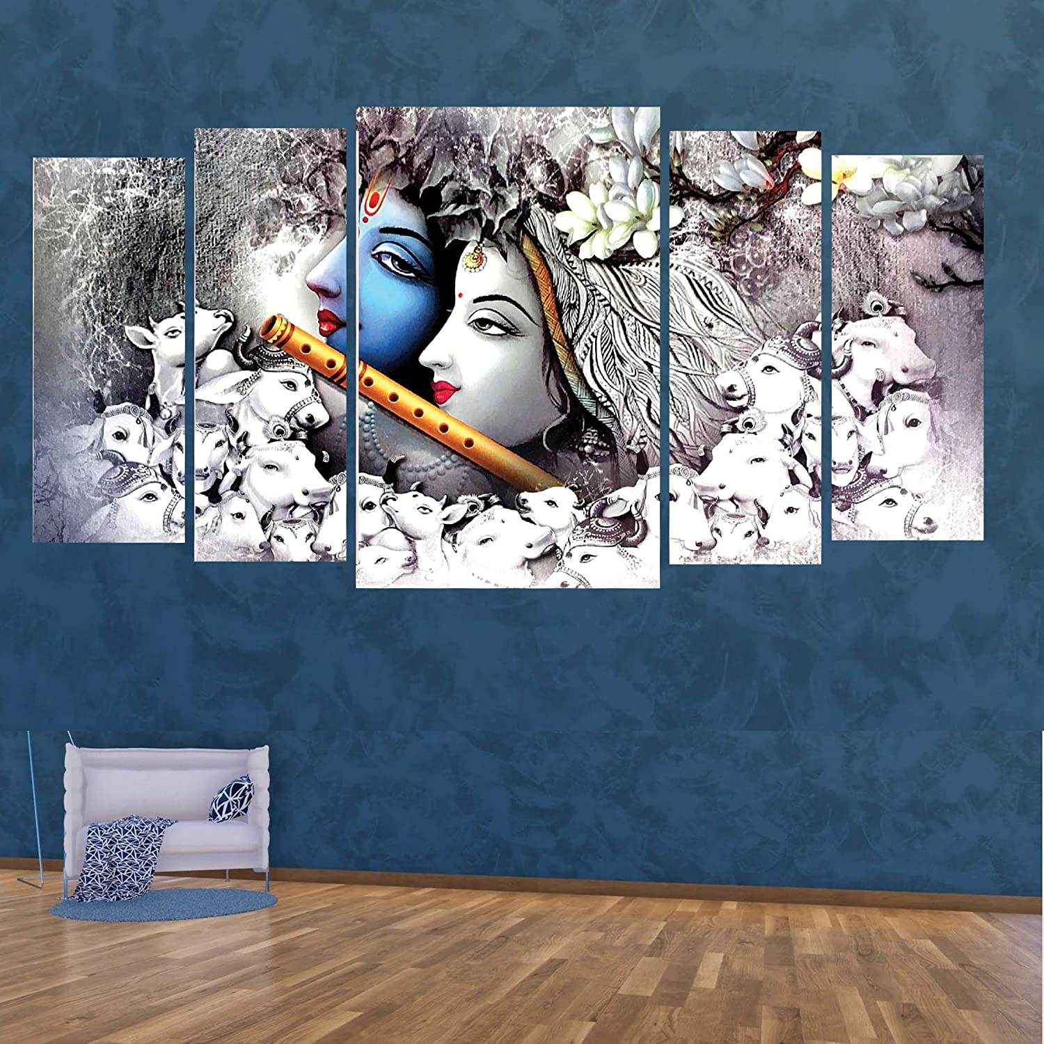 Kyara Arts Big Size Multiple Frames Beautiful Grey Radha Krishna Wall Painting For Living Room Bedroom Office Hotels Drawing Room Wooden Framed Digital Painting 60inchx30inch Amazon In Home Kitchen