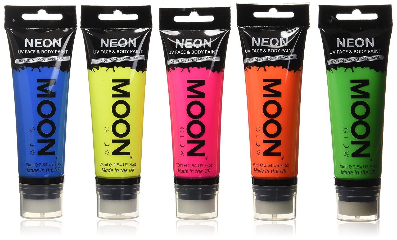 Moon Glow Supersize 75ml / 2.54oz Blacklight Neon UV Face & Body Paint -Set of 5 tubes- with sponge applicator