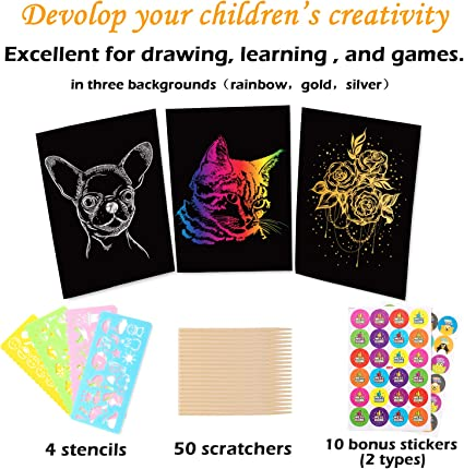Travel Party Favor DIY Craft 5 Wooden Styluses Whaline 59 Pcs Scratch Paper Art Set 4 Stencil Rulers 10 Reward Stickers for Kids Art Supplies 40 Sheets Gold and Silver Scratch Painting Paper