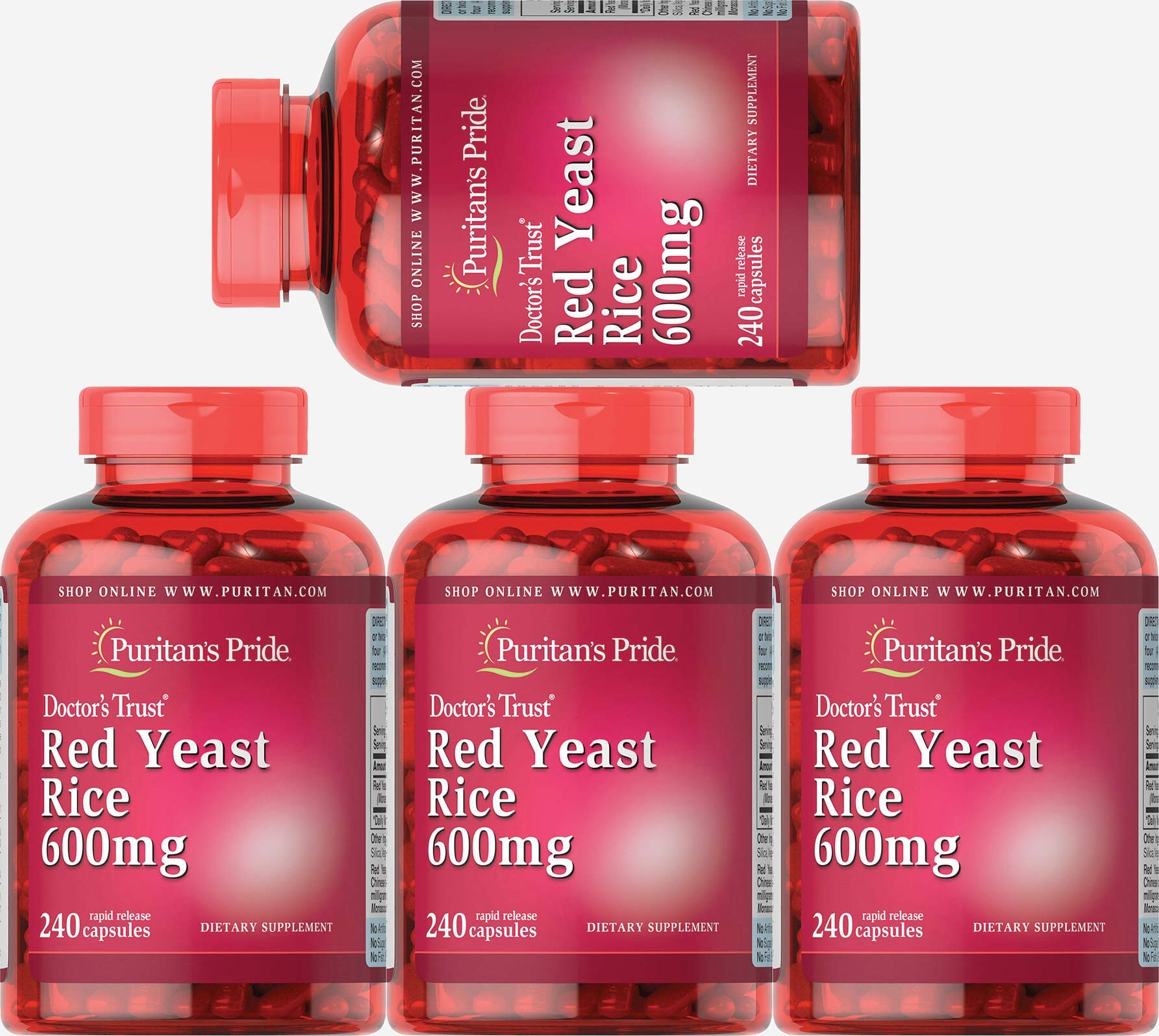 Puritans Pride Red Yeast Rice 600 Mg Capsules, 960 Count (4 Pack)