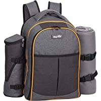 Hap Tim 4 Person Picnic Backpack w/ Stainless Steel Utensils, Oversized Water Resistent (Gray-Olive)