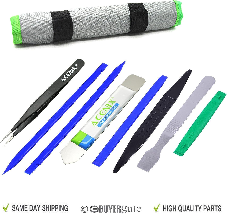 ACENIX Herramientas de palanca para apertura profesional, kit de reparación con palancas espátula, de nylon no abrasivas y pinzas antiestáticas, set de 9 herramientas profesionales con bolsa