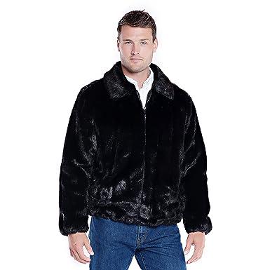 5ca7803c9 Donna Salyers' Fabulous-Furs Faux Fur Men's Bomber Jacket (Black Mink,  Medium