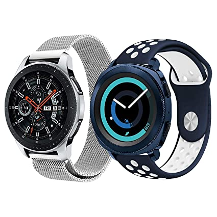 Koreda Compatible Galaxy Watch 46mm Bands/Gear S3 Frontier/Classic Bands Sets, 2 Pack Silicone Strap Wristband + Mesh Loop Strap Replacement Galaxy ...