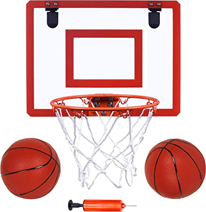 Amazon Com Indoor Mini Basketball Hoop And Balls 16 X12 Board Hoop Game Set For Door And Wall Mount With Complete Accessories Basketball Toy Gifts For Kids And Adults Toys Games