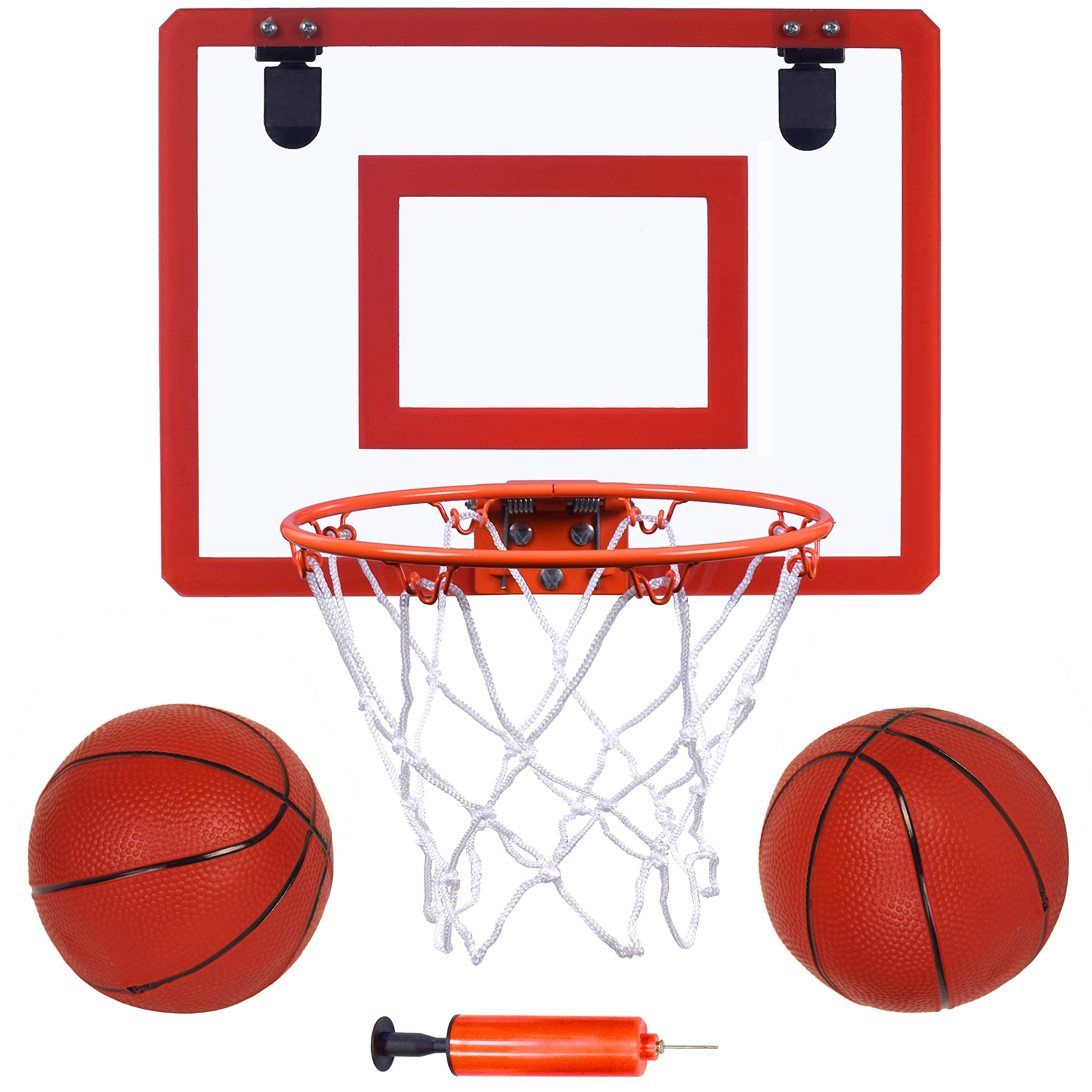 """Indoor Mini Basketball Hoop and Balls 16 """"x12"""" Board Hoop Game Set for Door and Wall Mount with Complete Accessories Basketball Toy Gifts for Kids and Adults"""