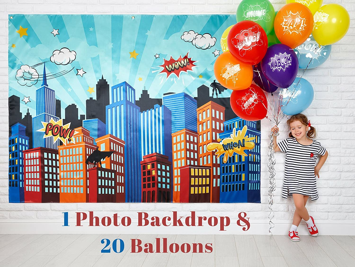 Superhero Party Supplies Pinata Props Backdrop , DC Super Hero Girls And  Boys Birthday Decorations Favors , 6.2 X 4.8 Ft Cityscape Photography Party