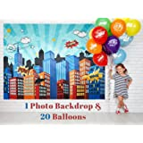 Superhero Party Supplies Pinata Props Backdrop - DC Super Hero Girls And Boys Birthday Decorations Favors - 6.2 X 4.8 Ft Cityscape Photography Party City - Bonus 20 Assorted Colors Balloons