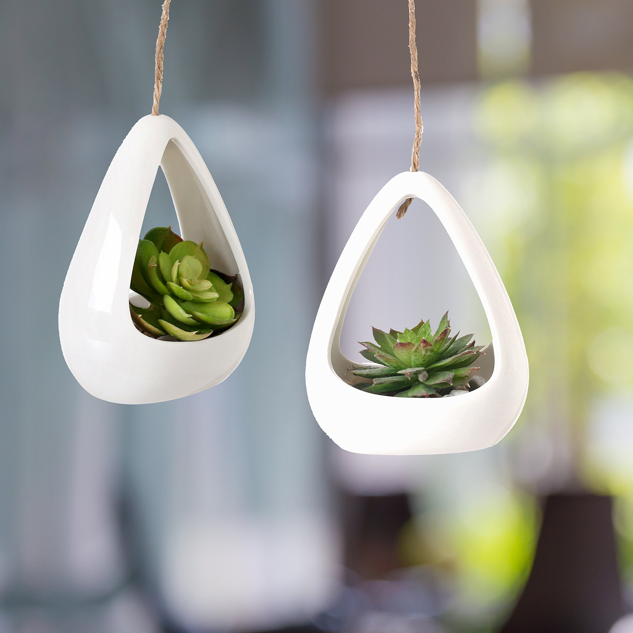 Modern White Ceramic Pod-Shaped Mini Hanging Planters with Twine Rope, Set of 2 by MyGift