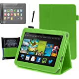 """MOFRED® Green Kindle Fire HD 7"""" Tablet (2013 Model-2nd Gen) Case-MOFRED® Executive Multi Function Standby Case with Built-in Magnet for Sleep / Wake feature for the Kindle Fire HD 7"""" Case + Screen Protector + Stylus Pen (Available in Mutiple Colors)"""