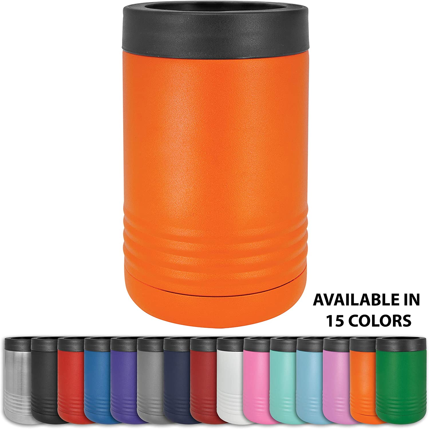Clear Water Home Goods - 12 oz Stainless Steel Double Wall Vacuum Insulated Can or Bottle Cooler Keeps Beverage Cold for Hours - Powder Coated Orange