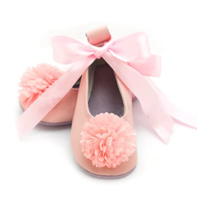 Amazon elk kids baby ballet shoes flower girl shoes baby ballet flower pink 0 6 mos mightylinksfo Choice Image