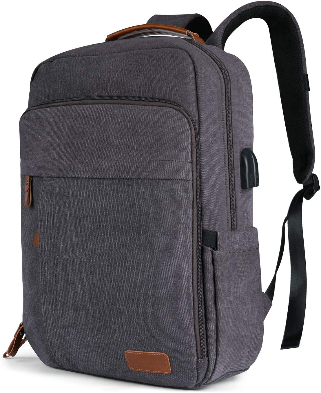 Business Laptop Backpack 15-15.6 Inch W USB Charging Port Water-Resistant Canvas Backpack for Work College School Travel