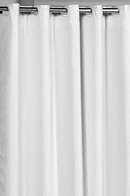 Pre Hooked Hotel Quality Waffle Weave 75 Inch Extra Fabric Shower Curtain With Snap