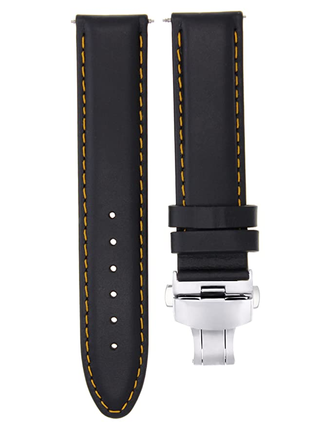 6561b37f4 20MM Smooth Leather Watch Band Strap Deployment Buckle Clasp for IWC Black  OS #2 | Amazon.com