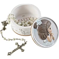 Precious Moments 202428 Faith is The Light That Guides You Girl Resin Box with Rosary, One Size, Multicolored