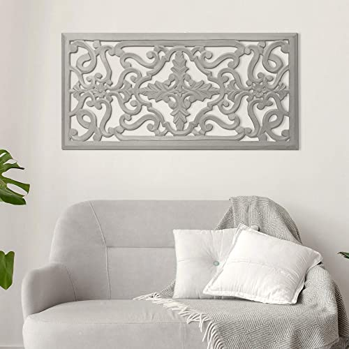 American Art Decor Hand-Carved Floral Wood Panel and Wall Decor Hangs Horizontally or Vertically Grey