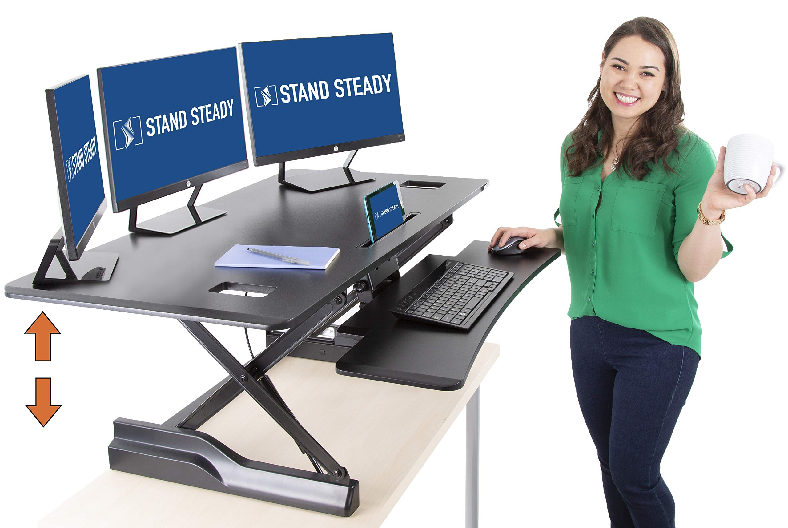 Flexpro Hero XL 47'' Dual Level Standing Desk - Large Work Space with Extra Level for Keyboard - Instantly Convert Any Surface to a Stand-Up Desk (47'' x 31'') by Stand Steady