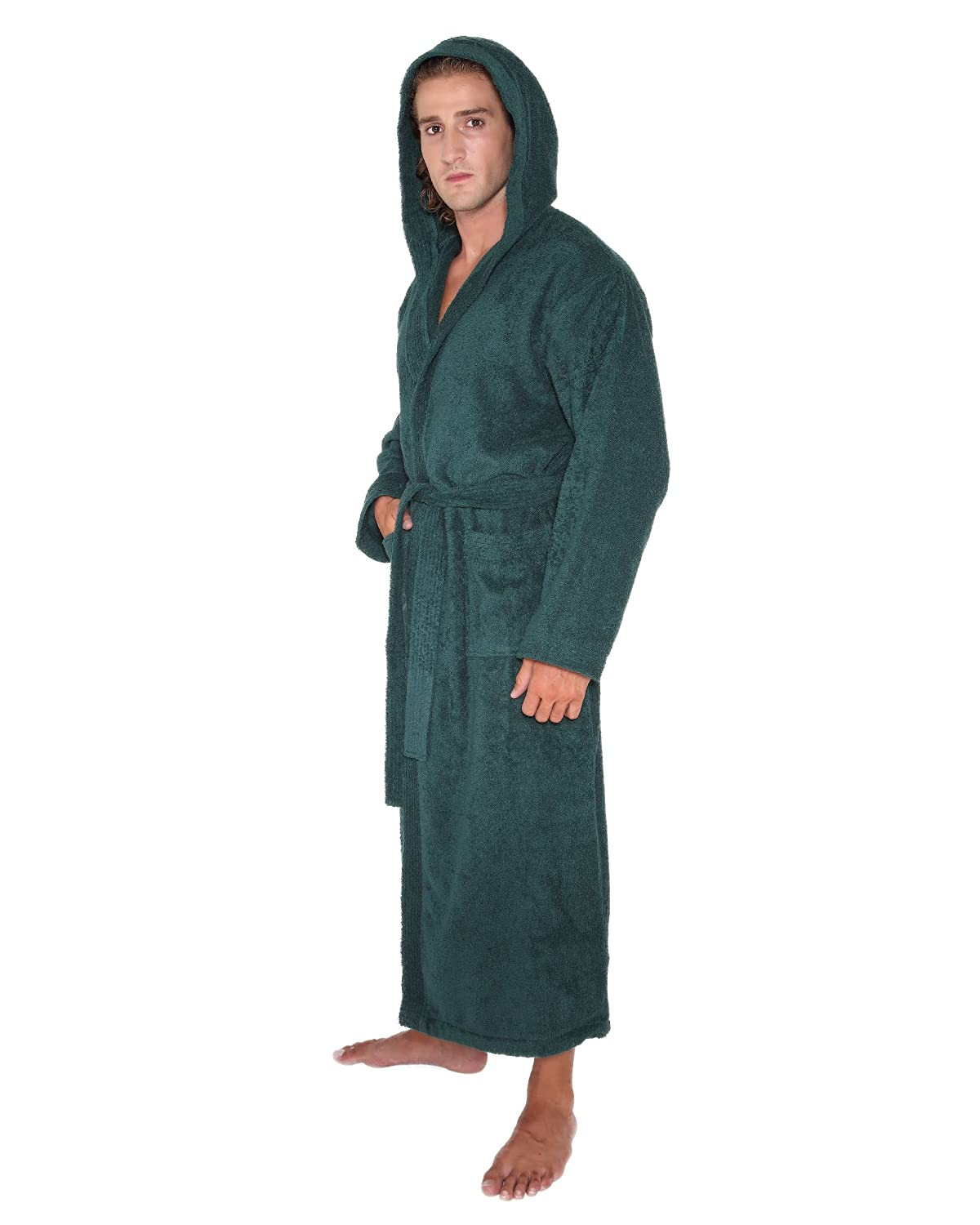 Arus Women's Men's Pacific Style Full Length Hooded Turkish Cotton Bathrobe