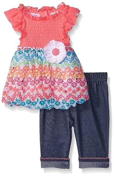 11885e92dd9 Little Lass Baby Girls  2 Piece Chiffon Bubble Hem Top and Denim Capri Pant  Set