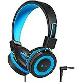 iClever Kids Headphones Over Ear, Safe Wired Kids Headsets, 94dB Volume Limited, 3.5mm Aux Jack, Children Headphones for Kids, Blue