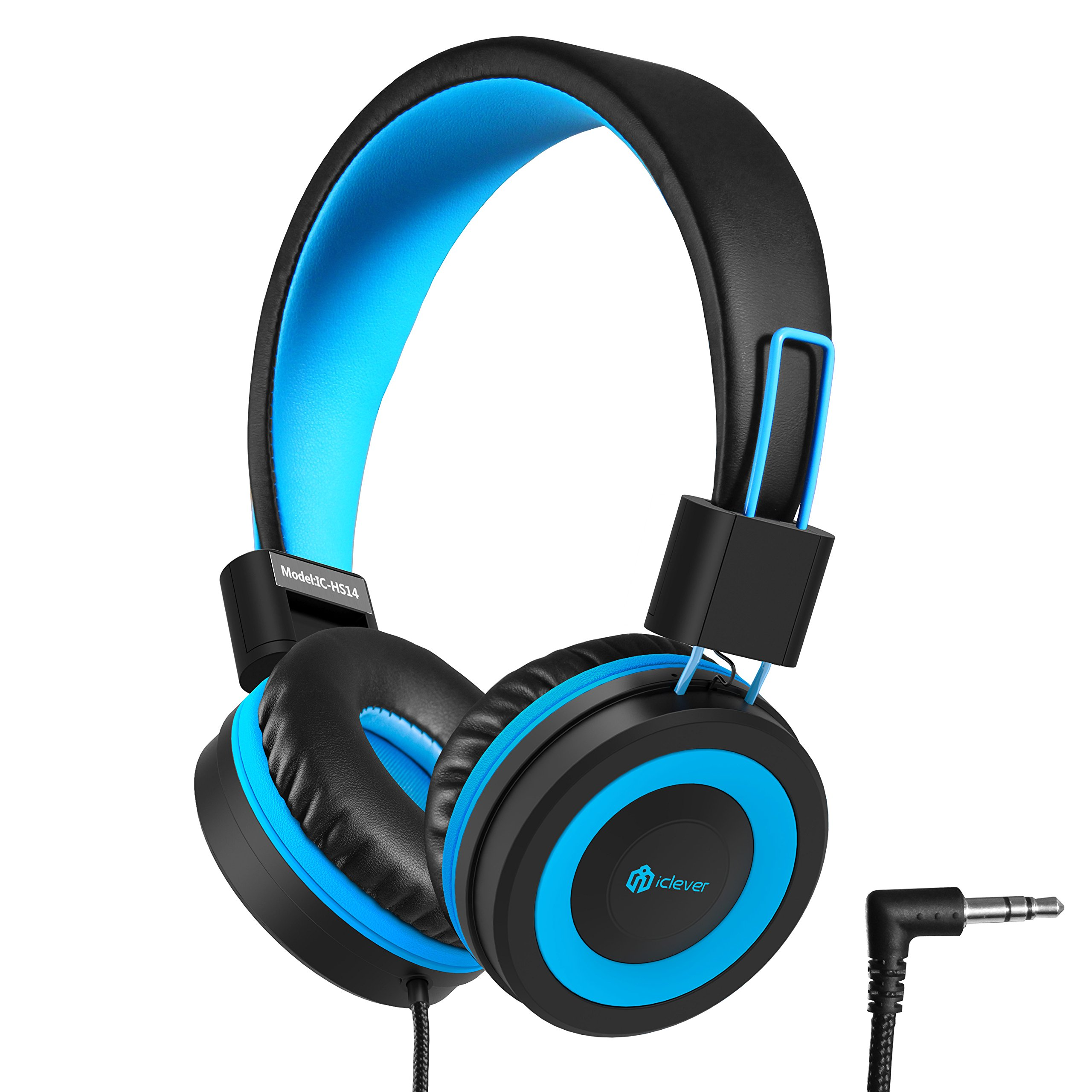 iClever Kids Headphones - Wired Headphones for Kids, Adjustable Headband, Stereo Sound, Foldable, Untangled Wires, 3.5mm Aux Jack, 94dB Volume Limited - Childrens Headphones on Ear, Blue by iClever