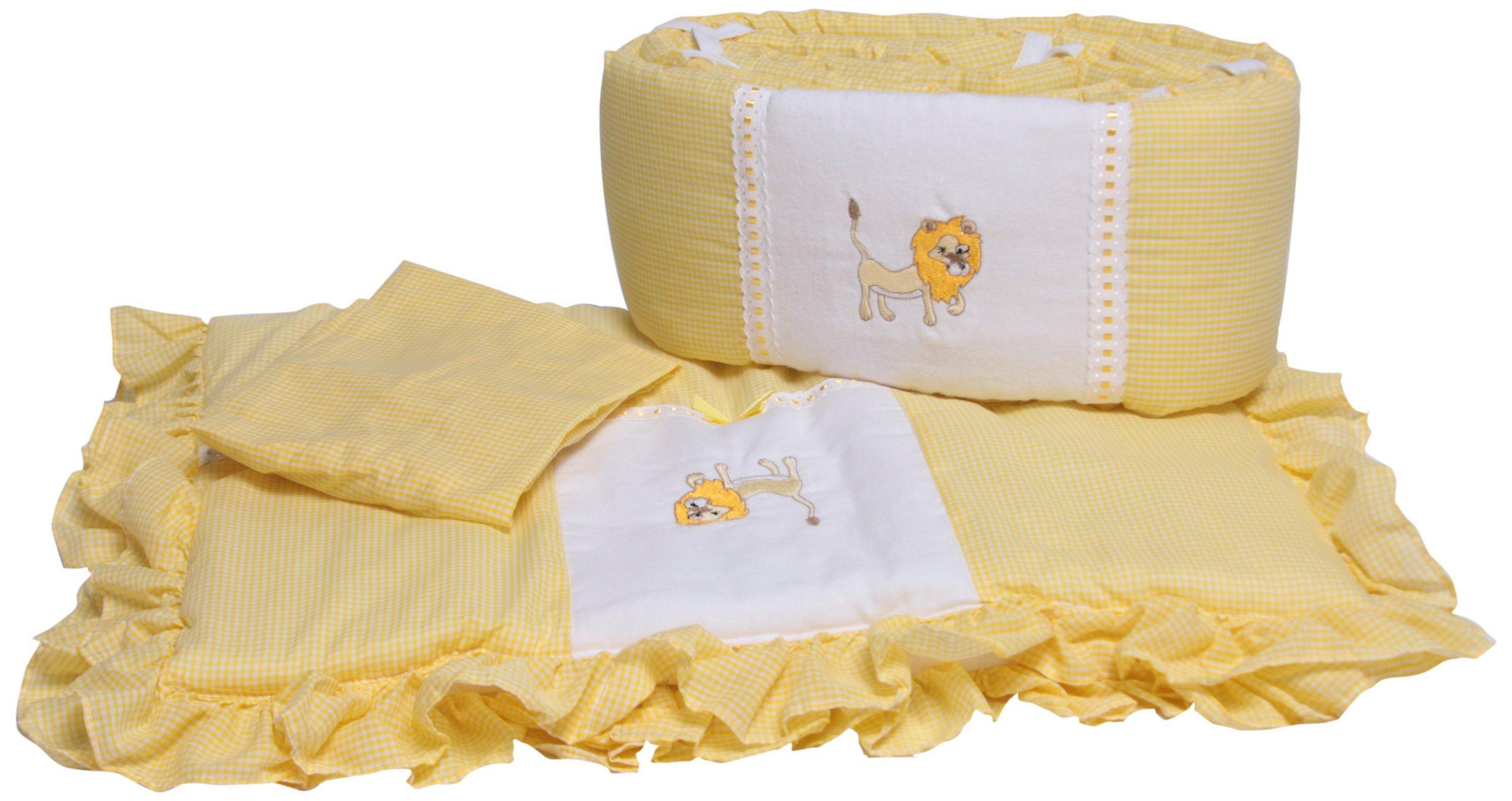 Baby Doll Bedding Gingham Applique Cradle Bedding Set, Lion by BabyDoll Bedding