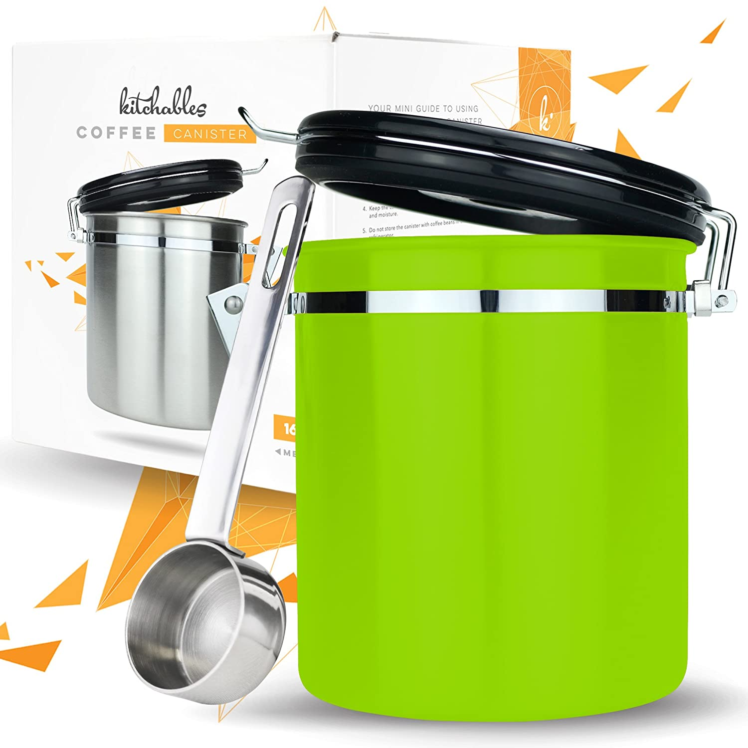 Coffee Storage Container with Scoop - Airfresh Valve Stainless Steel Metal Canister for Fresher Coffee Ground or Beans (Arabica Green) Kitchables COMIN18JU064313