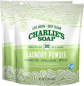 Charlie's Soap Laundry Powder (300 Loads, 2 Pack) Hypoallergenic Deep Cleaning Washing Powder Detergent – Eco-Friendly, Safe, and Effective