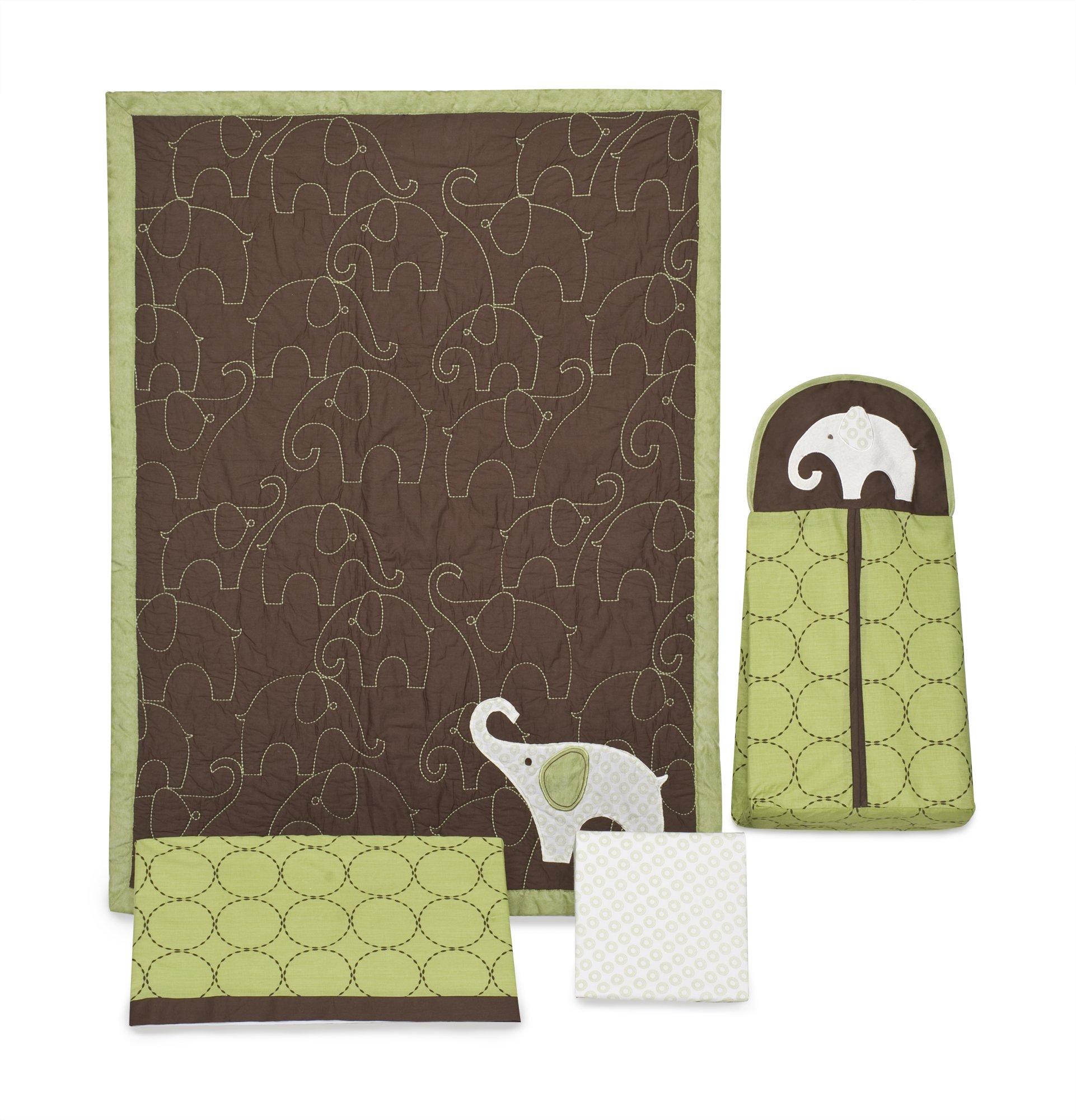 Carter's Green Elephant 4 Piece Crib Bedding Set