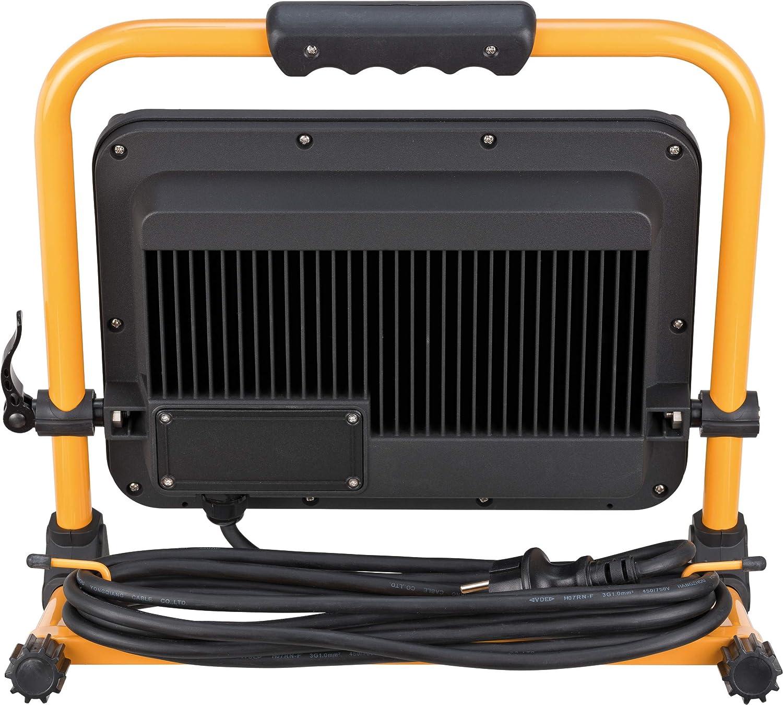50 W, f/ür au/ßen, IP65, mit 5m Kabel, mit Schnellspannverschluss schwarz//gelb Brennenstuhl Mobiler LED Baustrahler Jaro 5000 M