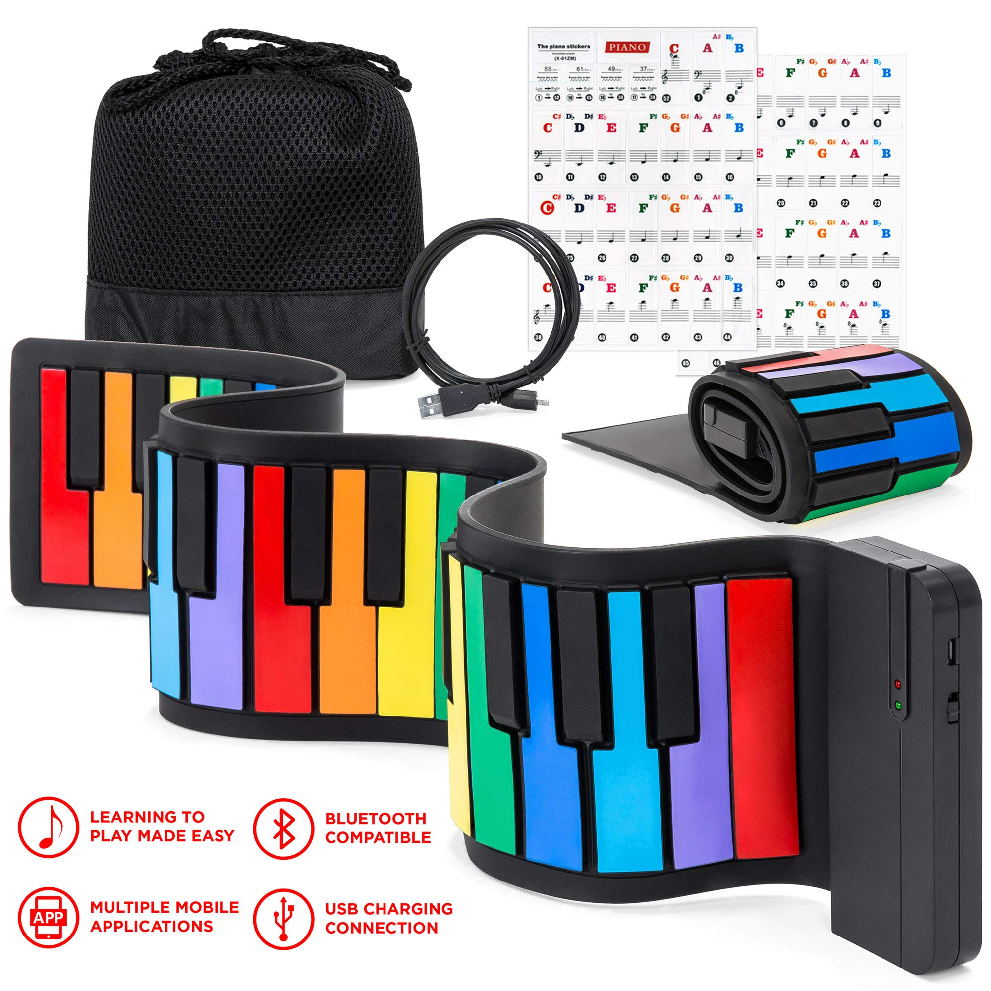 Best Choice Products Kids 49-Key Portable Flexible Roll-Up Piano Keyboard Toy with Learn-To-Play App Game, Bluetooth Pairing, Note Labels (Rainbow)